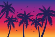 Evening On The Beach With Palm Trees. An Evening On The Beach With Palm Trees. Colorful Picture For Rest. Blue Palm Trees At Sunset. Orange Sunset In The Blue Sky. Vector Illustration