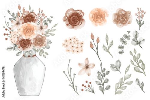 Obraz na plátně Assortment of watercolor leaves with flowers beige soft pastel color