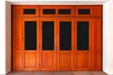 Fototapeta Kawa jest smaczna - Large brown wooden door entrance to the building