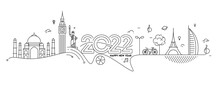 Happy New Year 2022 Text With Travel World Design Patter, Vector Illustration.