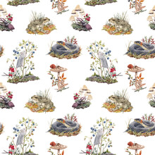 Beautiful Seamless Forest Pattern With Cute Watercolor Hand Drawn Wild Animals Snake Mouse Frog And Berries Mushrooms. Stock Illustration.