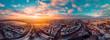 Leinwandbild Motiv High Angle View Of Cityscape During Sunset Hamburg