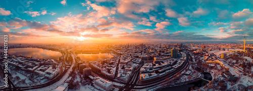 Fotografia High Angle View Of Cityscape During Sunset Hamburg