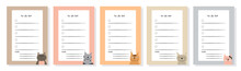 Set Of Agenda Blank Lists For Daily Planning With Cats Illustrations. Template For To-do List, Schedule, Organizer With Place For Notes. Vector Illustration In Doodle Style.