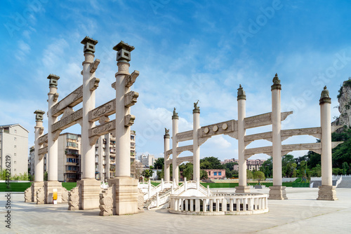 Art Arch, Chinese classical architectural style. Fototapet