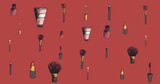 Composition of makeup and beauty accessories, on dark red background