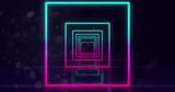 Neon Geometric Shapes on black background 4k