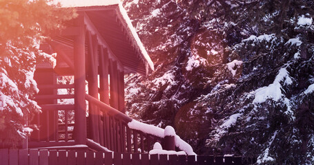 Image of landscape with winter scenery and house