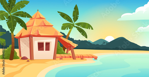 Fotografie, Obraz Cute bungalow or beach hut on tropical island resort