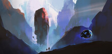 A Huge Boulder Suspended On An Alien Planet, 3D Illustration.