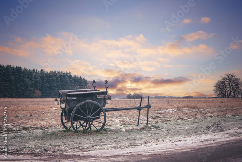 Old settlers wagon standing in the frost Fototapeta