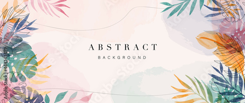 Photographie Abstract art gold tropical leaves background vector