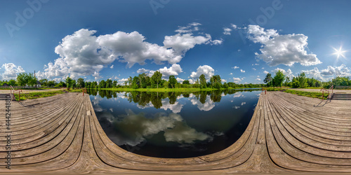 Fotografie, Obraz full seamless spherical hdri panorama 360 degrees angle view on wooden pier of l