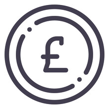 Pound Sterling Line Icon