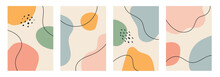 A Collection Of Four Abstract Backgrounds. Hand Drawing Various Shapes And Doodle Objects. Trendy Modern Contemporary Vector Illustration. Every Background Is Isolated. Pastel Color