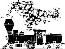 Woodcut Style Covid-19 Locomotive