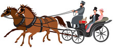 Izvozchik, Phaeton Horse Cart, Cab, Horse-drawn Carriage Driven By Coachman With Two Passangers, Couple, Man And Woman, XIX Century Passenger Transport, Predecessor Of Taxi