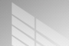 Shadow Of Blind From Window. Blinds Shade Isolated On Transparent Background For Overlay Effect. Sun Light. Reflected From Jalousie On Wall. Shadow Sunlight. Shading From Sunshine On Mockup. Vector