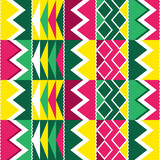 Fototapeta Kuchnia - African tribal Kente cloth style vector seamless textile or fabric print pattern, traditional vertcial geometric nwentoma design from Ghana in green and pink