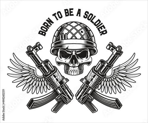 Fotografie, Obraz vector illustration of a military skull with kalashnikov rifles