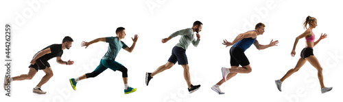 Fototapeta premium Sport collage. Male and female joggers, runners in action isolated on white studio background.
