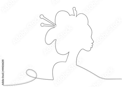 Silhouette of young Japanese girl an ancient hairstyle Fototapet