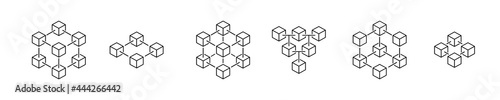 blockchain icon. crypto currency block chain logo icon isolated vector white background