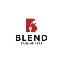 Blend Wineglass Goblet Wine Drink With Bottle Silhouette Logo Design