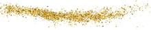 Gold Glitter Texture On White. Horizontal Long Banner For Site.Panoramic Celebratory Background. Golden Explosion Of Confetti. Vector Illustration, Eps 10.