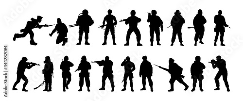 Fotografie, Obraz Silhouettes of soldiers