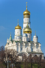 Archangel Cathedral And Ivan The Great Bell Tower In The Moscow Kremlin On A Sunny April Day