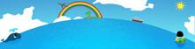 丸い水平線と太陽・海・クジラ・浮き輪の女の子・虹・飛行機