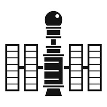 Future Space Station Icon Simple Vector. Planet Spaceship