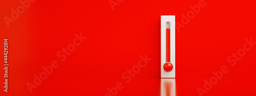 Fotografie, Obraz red thermometer 3d render, concept of hot weather, panoramic image