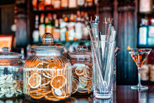 Bartender Tools And Decorations On Counter In Bar