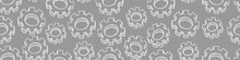 Seamless Pattern With Hand Drawn Gear On Gray Background. Mechanical Details In Sketchy Style. Vector Illustration.