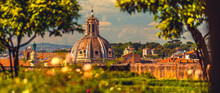 Gardens Of Farnese Upon The Palatine With Beautiful Panorama View On Rome