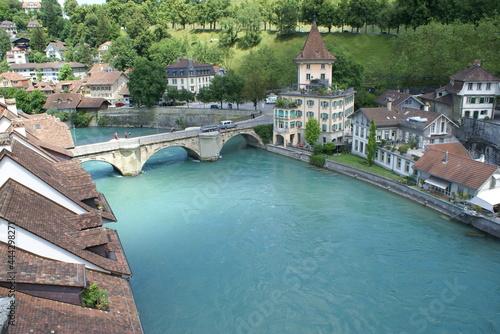 Fototapeta Aerial view of the river Aare and Untertorbrücke bridge in Bern, Switzerland