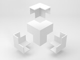 Fototapeta Konie - Abstract white geometric installation, flying corners 3d