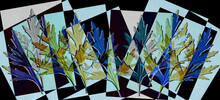 A Tracery Of Colorful Leaves Is Set Against A Pink-black-blue Background. Abstract Fantasy. 3D Render.
