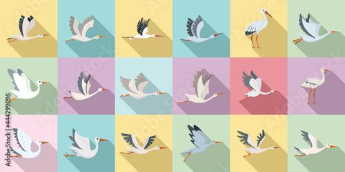Fototapeta premium Stork icons set flat vector. Bird fly