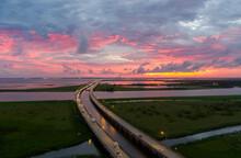 Sunset Over Mobile Bay Bridge