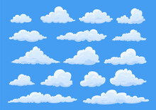 Collection Cartoon Clouds Vector Illustration Fluffy White Cloud Different Shapes At Clear Blue Sky