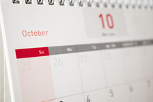 October Calendar Page With Months And Dates Business Planning Appointment Meeting Concept