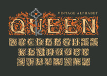 The Word Queen With Old Key On Black Background. Vintage Alphabet, Vector Set Of Hand-drawn Ornate Initial Alphabet Letters. Luxury Design Of Beautiful Royal Font For Card, Invitation, Monogram, Logo