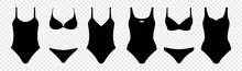 Swimsuit Icon Set, Isolated On Transparent Background, Bikini Symbol, Vector Illustration