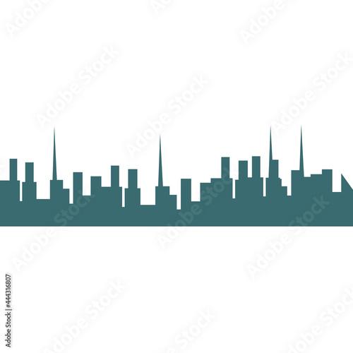 Billede på lærred City skyline silhouette building vector illustration architecture