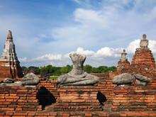 Headless Buddha Statue In Ayutthaya Ruins Temple Heritage Site