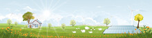 Green Energy,Eco Friendly In Village, Solar House And Windmill Power With Morning Light On Spring,Vector Solar Farm Field With Sheeps In Sunny Day Summer.Cartoon Environmentally Friendly
