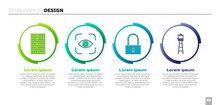 Set Server, Data, Web Hosting, Eye Scan, Lock And Watch Tower. Business Infographic Template. Vector